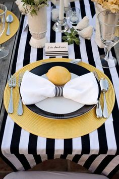 black white table runner