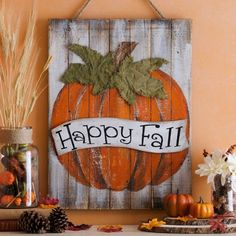 Happy+Fall+Pumpkin+Wood+Plank+Plaque+|+Kirklands