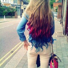 long hair, dyed tips [: