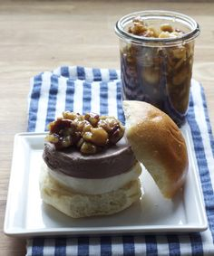 """What's the best way to end a burger meal? With an adorable ice cream """"slider,"""" of course. Though this dessert borrows from the Italian tradition of serving gelato in brioche, this ice cream sandwich is an all-American treat."""