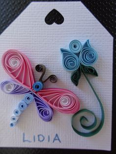 Quilled Dragonfly and Flower Tag by Karen Miniaci. Quilling Supplies from 'Quilled Creations'
