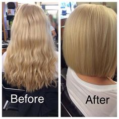 Before and after long to short by Izzy at Mario Tricoci