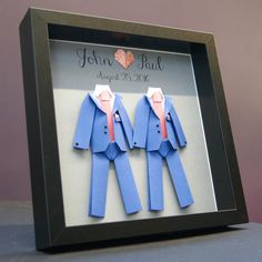 Personalized Gay Same Sex LGBT Wedding, Marriage, Engagement, Anniversary Paper Origami Groom & Groom Shadowbox Frame Custom Art Gift by paintandpapercraft on Etsy