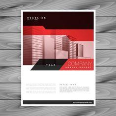 Moderno flyer rojo brillante con formas geométricas Vector Gratis