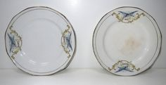 Antique 1920s Bluebird Plate Butter Pat Dishes 2 Small Sebring Potteries, Ohio
