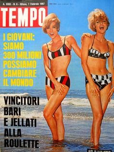 """German variety star Alice and Ellen Kessler (7th February 1967). In the 1960s, Alice and Ellen Kessler were among the most popular TV celebrities in Italy, both as presenters and as guest stars. In 1967, they starred, with theatre and movie star Enrico Maria salerno, in Pietro Garnei and Sandro Giovannini's successful theatre musical comedy """"Viola, violino e viola d'amore"""" (Italian title: """"Viola, violin and viola d'amore"""")."""