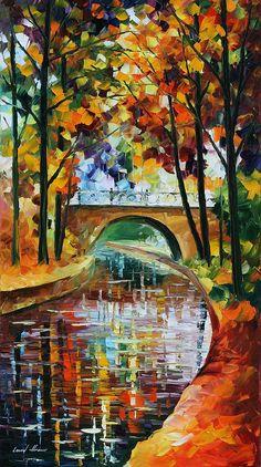 Leonid Afremov: Water onder een brug met bomen eromheen. Dit zou een park kunnen zijn.