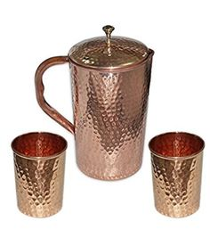 RoyaltyLane Ayurvedic Copper Water Pitcher - Set of 2 Water Glasses and 1 Jug - Capacity 1.6 Liters