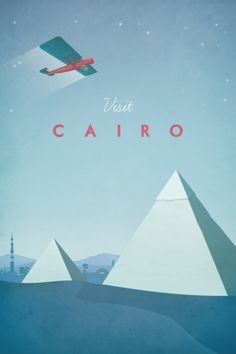 Cairo by Henry Rivers. Hi, I'm a British illustrator living in the French countryside close to Bordeaux. I love creating artwork inspired by my travels, as well as designing book covers. My posters are a modern interpretation of the Art Deco travel advert, focusing on playful details and minimalist compositions.
