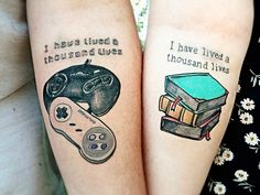 I like the book one cute tattoos, cool couple tattoos, matching tattoos for couples Gamer Tattoos, Tattoos Skull, Body Art Tattoos, Fandom Tattoos, Bird Tattoos, Cute Couple Tattoos, Love Tattoos, Unique Tattoos, New Tattoos