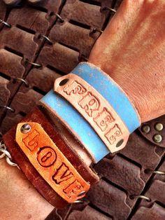 Leather Cuff, Bohemian, Gypsy Bracelet, FREE Inspirational Cuff BLUE Cuff  on Etsy, $38.00
