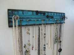 Rustic Jewelry Holder - Necklace Bracelet Necklace Storage Organizer Aqua Wall Mounted Jewelry Holders on Etsy