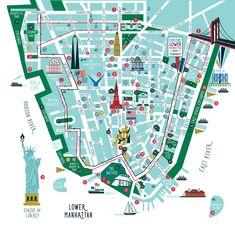 Lower Manhattan Map New York City Lower Manhattan, Manhattan Night, Manhattan Map, Manhattan Restaurants, Manhattan Apartment, Manhattan Skyline, Chicago Skyline, Walking Map, Walking Tour