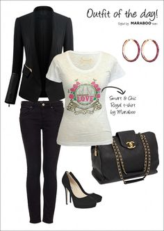 Maraboo-what to wear today, featuring Maraboo Love, Passion for Life t-shirt! What To Wear Today, How To Wear, Last Day At Work, Passion For Life, Black Leather Bags, Black Trousers, Black High Heels, Outfit Of The Day, Skinny Jeans