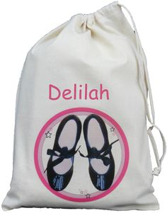 512c260ae1 Personalised - Tap Dancing Shoes - Small Natural Cotton Drawstring Bag -  Dance  ebay