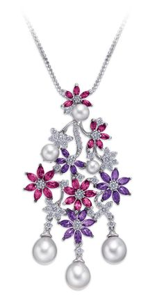 Ganjam 'Le Jardin' necklace featuring amethyst and rhodolite flowers, pearls and diamonds.