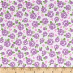 Riley Blake Lovey Dovey Flannel Roses Purple