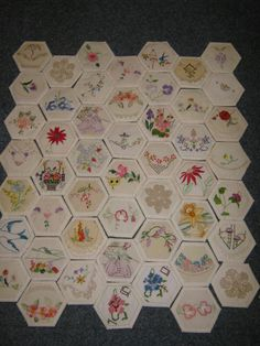 Embroidered Hexagons-  A Touch of Heart.