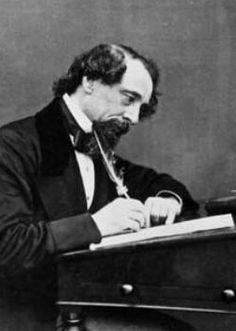 Charles Dickens at work, the most popular English novelist of the Victorian era. He was a vigorous social campaigner, both in his own personal endeavours as well as through the recurrent themes of his literary enterprise.