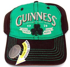 Amazon.com  Guinness Stout Distressed Hat Cap w Bottle Opener On Bill -  Kelly Green Black  Clothing a98fccfc182