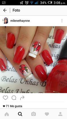 Uñas Flower Nails, Red Nails, Manicure And Pedicure, Natural Nails, Christmas Nails, Pretty Nails, Maybelline, Nail Art Designs, Nail Polish