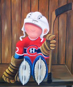 peinture michel sauve - Recherche Google                                                                                                                                                                                 Plus Kids Canvas Art, Small Canvas Paintings, Wood Canvas, Hockey Drawing, Cartoon Painting, Paint And Sip, Bird Drawings, Sports Art, Ceramic Painting
