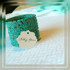Turquoise color beaded cuff SALE! This beautiful handmade cuff is sure to be a great addition to your accessories! Discounts given on bundles. Salty Grace  Jewelry Bracelets