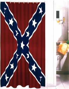 Red Blue and White Rebel Confederate Flag Bath/shower Curtain with Hook Confederate States Of America, Confederate Flag, Southern Heritage, Southern Style, Southern Pride, Southern Charm, Country Girls, Country Life, Country Man