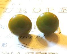 Green Bakelite Vintage Earrings Vintage Jewelry