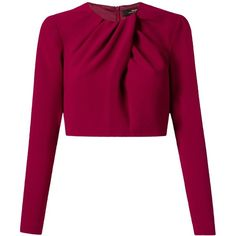 Andrea Marques cropped pleated blouse (2 810 UAH) ❤ liked on Polyvore featuring tops, blouses, shirts, crop tops, blusas, red, long-sleeve shirt, purple blouse, crew shirt and purple shirt