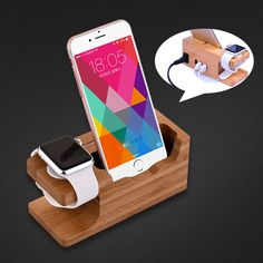 Genuine Bamboo Holder For apple watch 38 42 Charger Stand Multi-function 3 Port USB Charging Docking Station For iPhone 6 7 Plus