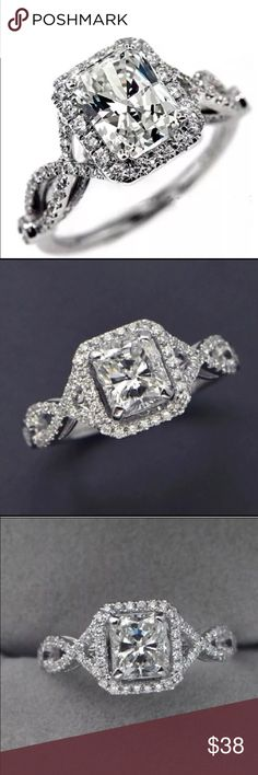 Antique Diamond Simulated Sterling Silver Ring Victoria Wieck diamond simulated 4ct ring. Sterling silver stamped 925. Size 6. New in a gift box. Victoria Wieck Jewelry Rings
