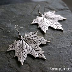 Silver Leaf Earrings ❤ liked on Polyvore featuring jewelry, earrings, leaf earrings, silver statement earrings, statement earrings, leaf jewelry and silver leaf jewelry