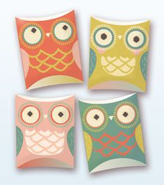 owl pillow gift boxes (PDF template on Etsy)