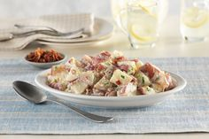 Try Grandma's Reinvented Potato Salad at your next potluck! This potato salad with MIRACLE WHIP includes shredded cheddar cheese, too! Potato Salad Dill, Potato Salad Mustard, Potato Salad Dressing, Potato Salad Recipe Easy, Potato Salad With Egg, Food Network Recipes, Cooking Recipes, Healthy Recipes, Drink Recipes