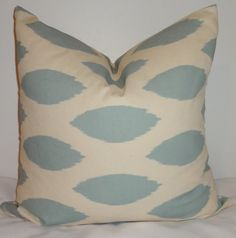 Pillow Cover Village Blue/Off White Ikat Chipper by HomeLiving