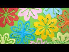 Flores de papel sólo doblando y recortando (kirigami) - Papelisimo Kirigami, Spring Activities, Tropical, Elementary Art, Crafts For Kids, Paper Crafts, Ideas, Frame, Estate