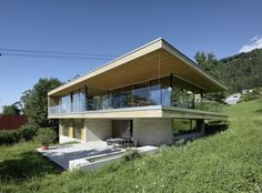 Completed in 2016 in Bregenz, Austria. Images by Bruno Klomfar          . Located on a mountain overlooking Bregenz, Haus D′s open floorplans and generous glazing allow for magnificent views over the surrounding countryside...