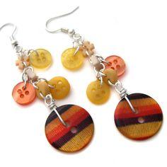 Orange+Yellow Button Earrings by fairy-cakes.deviantart.com on @deviantART