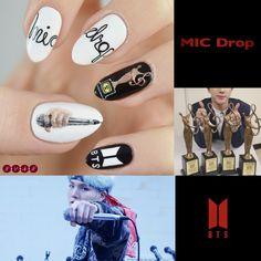 Uñas de Bts MIC Drop creado por Not Your Average Nails K Pop Nails, Cute Nails, Pretty Nails, Hair And Nails, Gel Nails, Acrylic Nails, Nail Polish, Korean Nail Art, Korean Nails