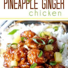 Sticky Pineapple Ginger Chicken ---- (Baked or stir fried Pineapple Ginger Chicken smothered in the most crazy delicious sweet pineapple sauce with a ginger Sriracha kick that is WAY better than takeout! Turkey Recipes, Dinner Recipes, Ginger Chicken, Sesame Chicken, Teriyaki Chicken, Chicken Tacos, Lemon Chicken, Chicken Satay, Barbecue Chicken