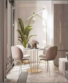 Get inspired by these dining room decor ideas! From dining room furniture ideas, dining room lighting inspirations and the best dining room decor inspirations, you'll find everything here! Dining Suites, Luxury Dining Room, Dining Room Lighting, Dining Rooms, Dining Tables, White Round Dining Table, Kitchen Dinning, Dining Decor, Kitchen Decor