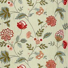 Schumacher Palampore Embroidery Celadon Fabric