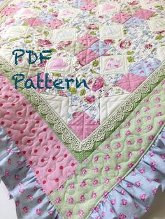Adorable Baby quilt pattern with a cottage chic look. Pattern shows how to add a Colorful Ruffled edge to this baby girl quilt pattern. THIS IS FOR A PATTERN ONLY (NOT THE FINISHED QUILT). INSTANT DOWNLOAD ONLY: not mailed - download following etsy instructions.  Our Quilt Pattern Tutorial includes detailed instructions along with several as you quilt block images, quilt images, outlines, and instructions on a french seam for ruffle.  Skill Level: Intermediate Use of rotary cutter and…