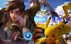 High Quality Game ART Source: Tracer And Pikachu Source: owpolol art art art Tracer Art, Overwatch Fan Art, Overwatch Pokemon, Overwatch Genji, Overwatch Females, Pokemon 20, Pokemon Pins, Dreamworks Movies, Kid Icarus