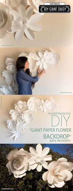 "DIY "" Giant Paper Flower Backdrop"" paper decor and flowers , paper backdrops with video tutorials! The best inclusive diy wedding planning information, inspiration . Giant Paper Flowers, Diy Flowers, Flower Diy, Paper Flowers Wall Decor, Flower Food, Metal Flowers, Flower Making, Flower Crown, Paper Art"