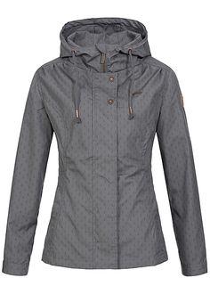 Aiki Damen Übergangs Jacke Anker Muster 2 Taschen Kapuze Tunnelzug dunkel grau Aiki Jacken | 77onlineshop im Online Shop preiswert kaufen