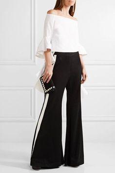 Ellery - Lovedolls Striped Crepe De Chine Wide-leg Pants - Black - UK6