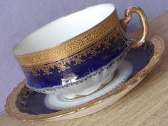 Antique Theodore Haviland Limoges teacup and saucer, Flow blue tea cup, French porcelain tea cup, Blue and Gold tea cup
