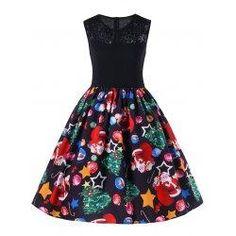 #BFCM #CyberMonday #trendsgal.com - #Trendsgal Christmas Lace Trim Fit and Flare Dress - AdoreWe.com